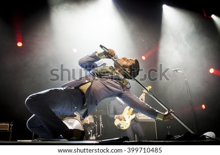 BYRON BAY, AUSTRALIA - MARCH 28 :Vintage Trouble plays on the Crossroads stage at the 2016 Byron Bay Bluesfest. 27th annual Blues and Roots festival. - stock photo