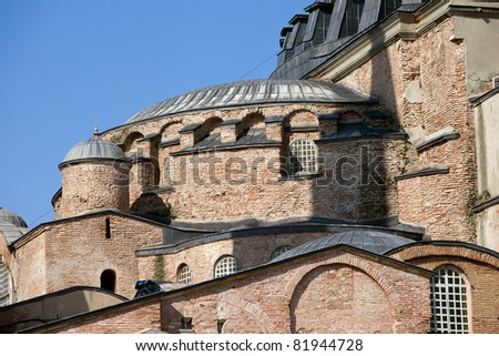 Byzantine architectural details of the Hagia Sophia ( The Church of the Holy Wisdom or Ayasofya in Turkish ), a famous historic landmark in Istanbul, Turkey - stock photo