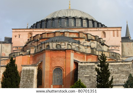 Byzantine architecture of the Hagia Sophia ( The Church of the Holy Wisdom or Ayasofya in Turkish ), a famous historic landmark in Istanbul, Turkey