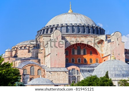 Byzantine architecture of the Hagia Sophia ( The Church of the Holy Wisdom or Ayasofya in Turkish ), famous historic landmark and world wonder in Istanbul, Turkey - stock photo