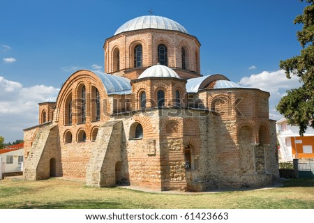 Byzantine church (1152 ad), at Feres,Greece. Replica of the famous Hagia Sofia - stock photo