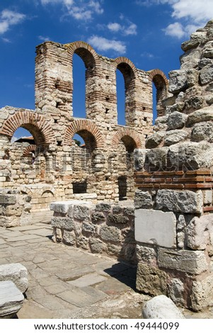 Byzantine church ruins in Nessebar, Bulgaria - stock photo
