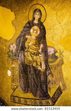 Byzantine mosaic of Virgin Mary and Jesus Christ in the Hagia Sofia, Istanbul, Turkey