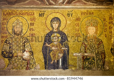 Byzantine mosaic of Virgin Mary and Jesus Christ with Emperor and Empress in the Hagia Sofia, Istanbul, Turkey - stock photo