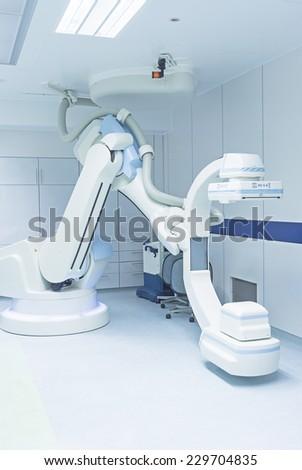 c arm fluoroscopic use in endovascular surgery - stock photo