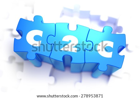 C2C - Client to Consumer - White Word on Blue Puzzles on White Background. 3D Illustration. - stock photo