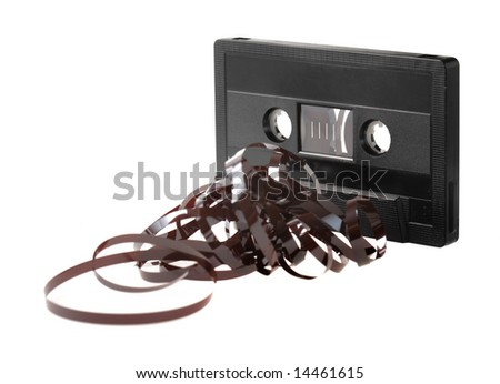 C-Cassette with tangled tape isolated on white