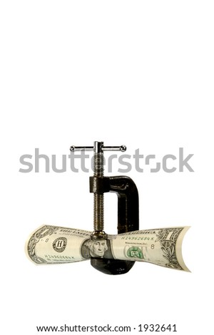 c-clamp holding US dollar bill on white background - stock photo