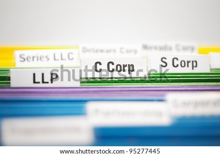 C Corporation, S corp and LLP business entities on file - stock photo