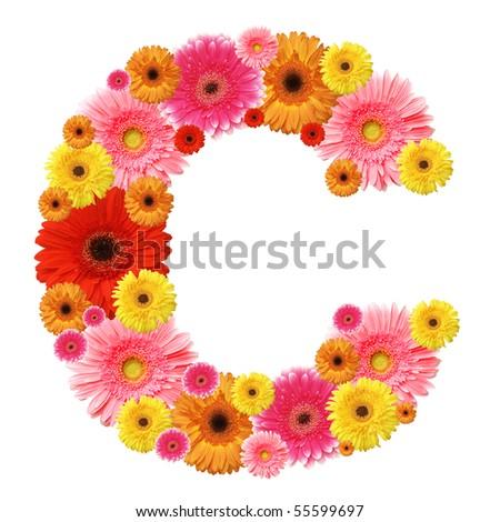C, flower alphabet isolated on white - stock photo