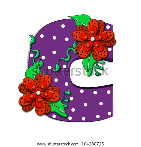 """C, in the alphabet set """"Clinging Vine"""", is decorated with mod flowers in three layers.  Letters are purple and vines and leaves are mint green. - stock photo"""