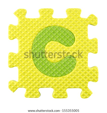 C letter, Alphabet puzzle isolated on white background , with clipping path. - stock photo