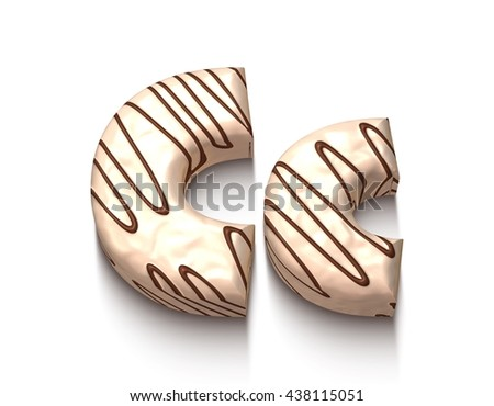 C letter of white chocolate with brown cream in 3d rendered on white background. - stock photo