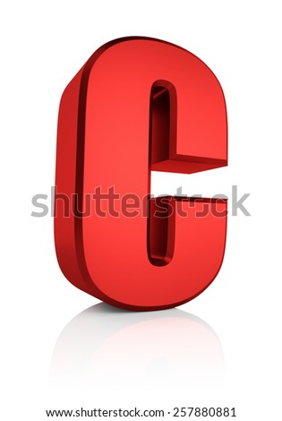 C letter. Red letter on reflective floor. White background. 3d render - stock photo