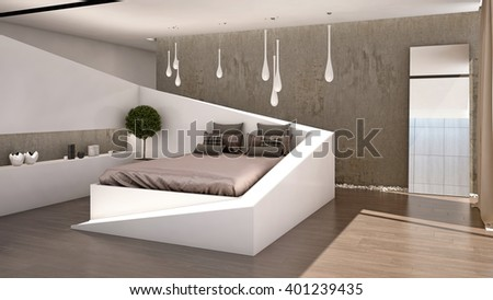 C-line Bedroom with Double Bed 3D Rendering Camera 2