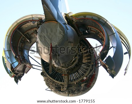C-17 Military Aircraft Engine Opened Up - stock photo
