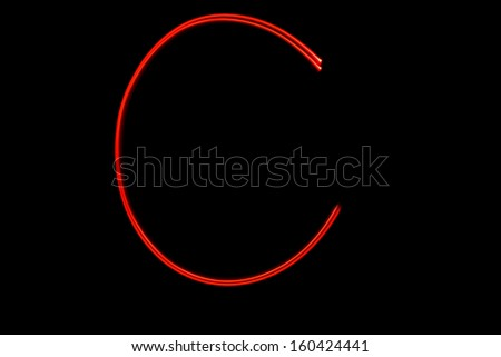 C - torch light alphabet letters - stock photo