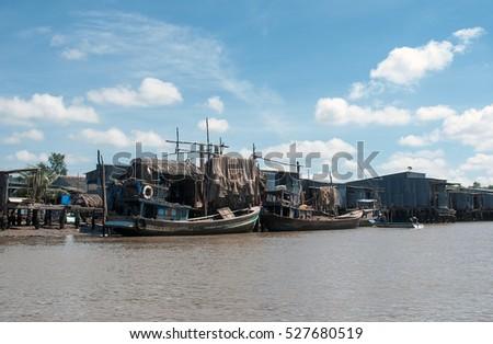 CA MAU, VIET NAM, November 13, 2016 fishing village, wetland Ca Mau, Vietnam. Traditional fishermen, fishing
