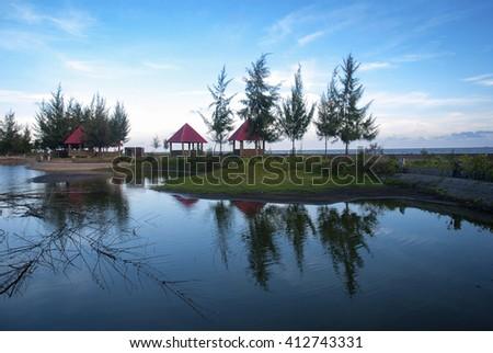 CA MAU, VIETNAM, April 28, 2016 the resort, Ca Mau sea, Vietnam
