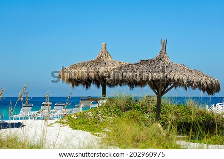 Cabana and Chair Rentals on the Beach  - stock photo