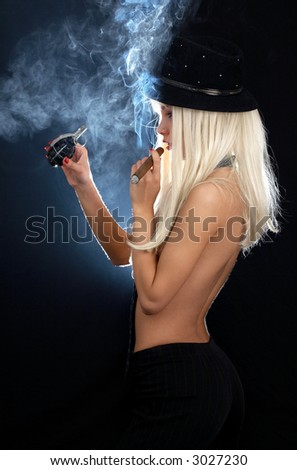 cabaret dancer girl with cigar and grenade