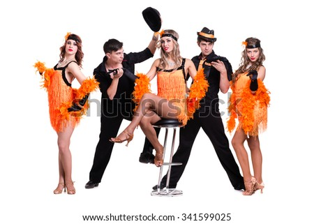 Cabaret dancer team dancing. Retro fashion style, isolated on white background in full length. - stock photo