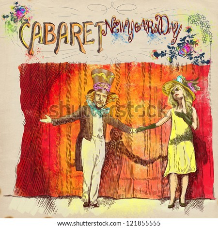 "Cabaret New Years Day. Full-sized (original) hand drawing. (Useful for ""live trace"" converting for the vector image - and others). Technique: digital tablet. Number of colors: hundreds and old paper."
