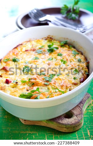 Cabbage and bacon gratin, selective focus