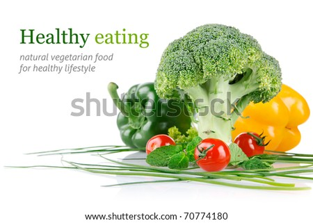 cabbage broccoli with tomatoes and green leaves isolated on white background - stock photo