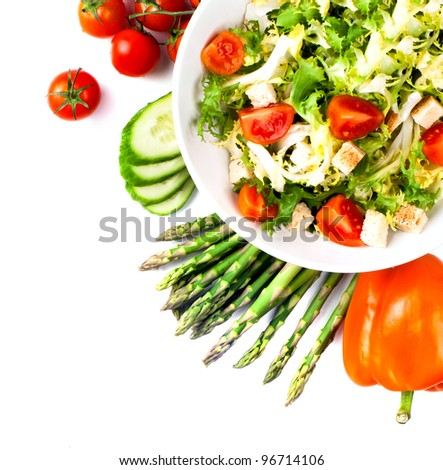 cabbage broccoli with tomatoes and green leaves isolated on white background