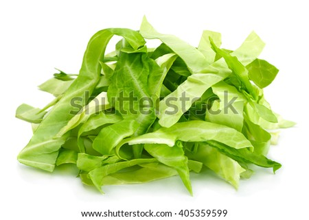 Cabbage chopped slice heap isolated on white