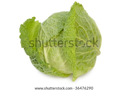 Cabbage is isolated on a white background