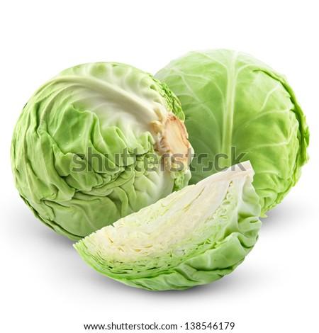cabbage isolated on white background  - stock photo