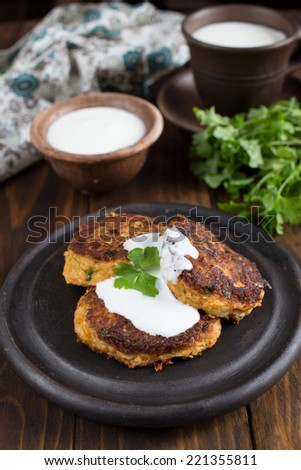 Cabbage pancakes with cheese and dill - stock photo