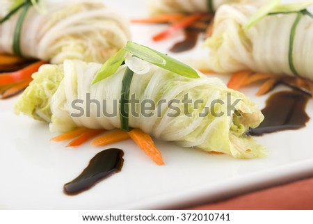 Cabbage roll appetizers with soy sauce garnish - stock photo