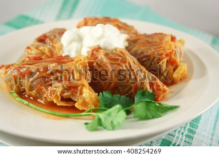 Cabbage rolls with rice and meat