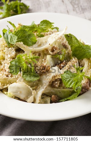 Cabbage salad with fresh mint and sesame