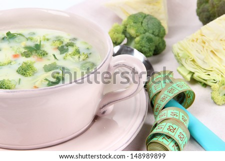 Cabbage soup in plate on napkin close-up