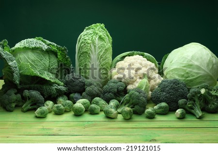 Cabbage variety: cauliflower, broccoli, chinese cabbage, savoy cabbage, brussel sprouts - stock photo