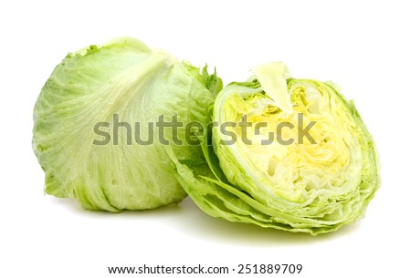 cabbages cut in half isolated on white background - stock photo