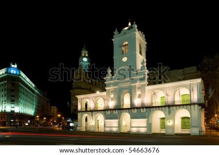 Cabildo, old colonial building in Plaza de Mayo, Buenos Aires, Argentina. - stock photo