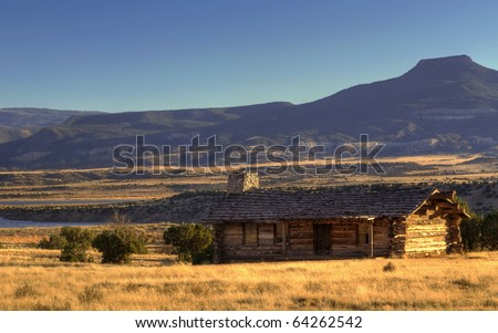 Cabin at Ghost Ranch, Abiquiu, New Mexico. From HDR - stock photo