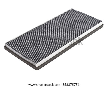 Cabin car filter with carbon isolate on white