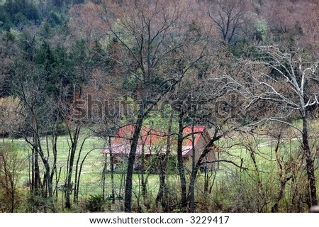 Cabin in the Ozark Mountains.Arkansas - stock photo