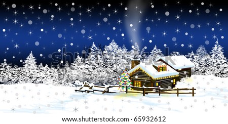 cabin in the snow - christmas card background