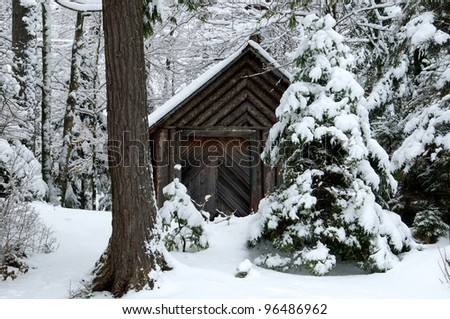 Cabin in the woods has different patterns of wood - stock photo