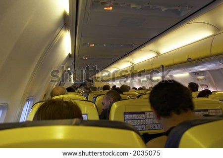 cabin interior of an airplane - stock photo