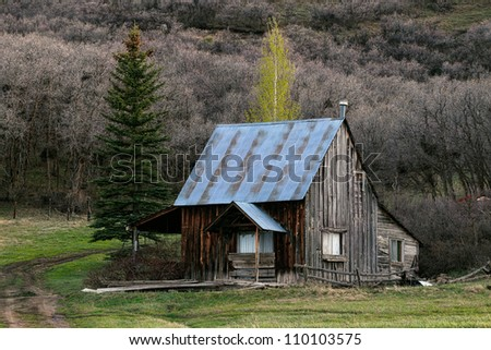 Cabin log house - stock photo