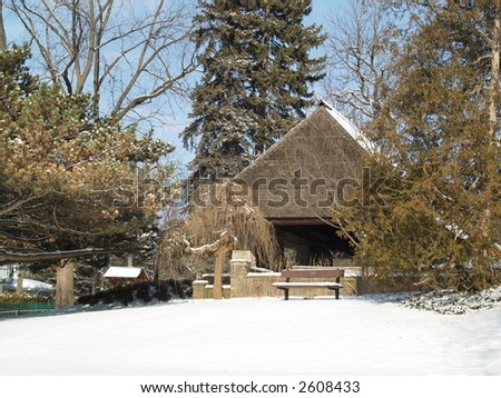 cabin snow covered - stock photo