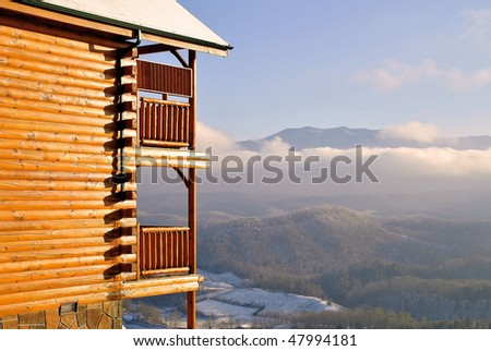cabin with a view of the Smoky Mountains and the valley in Tennessee